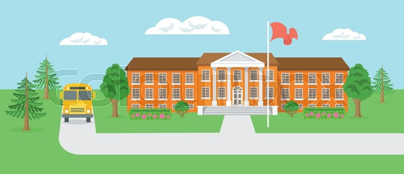 800x345 Modern Flat Vector Illustration Of School Building And Yard With