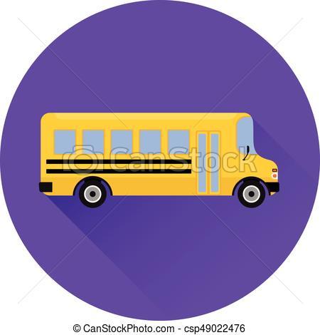 450x470 Flat Icon Yellow School Bus. Vector Graphic. School Bus Icon In