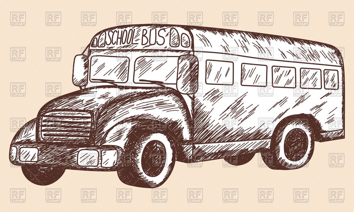 1200x720 School Bus Sketch Vector Image Vector Artwork Of Transportation