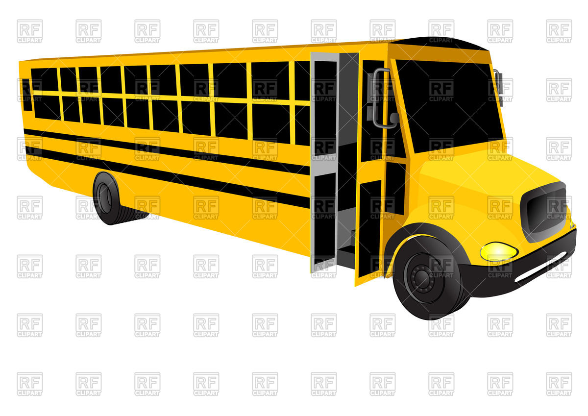 1200x849 School Bus With Open Door Isolated On A White Background Vector