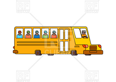 400x285 Yellow School Bus Contour Style Icon Vector Image Vector Artwork