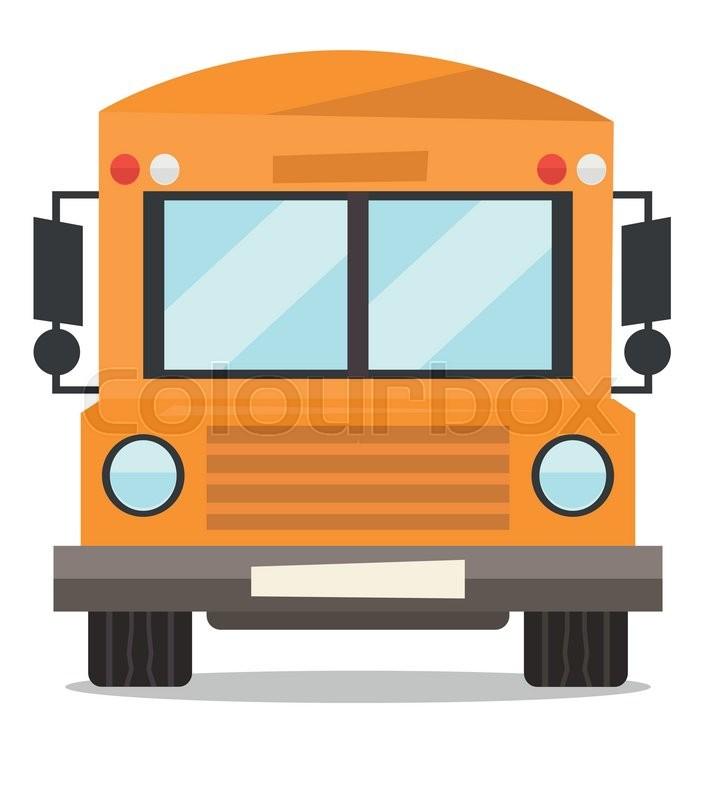 716x800 Yellow School Bus Vector Flat Design Illustration Isolated On