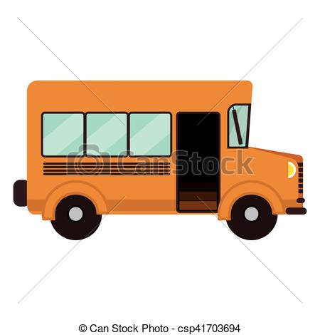 450x470 Yellow School Bus Vehicle Over White Background. Vector Illustration.