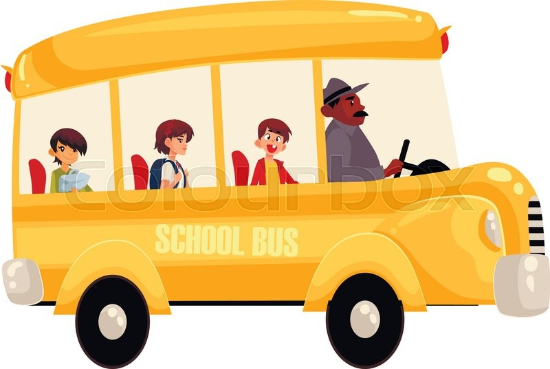 800x537 Cartoon Vector Illustration Of Happy Primary Students Riding