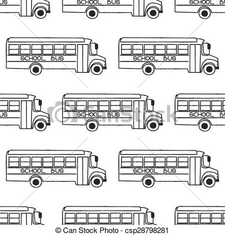 450x470 School Bus Seamless Pattern. Back To School Doodle Seamless