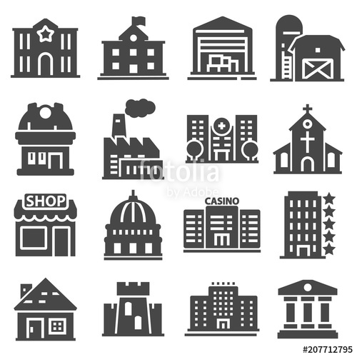 500x500 Government Building Icons Set Of Police School House Isolated