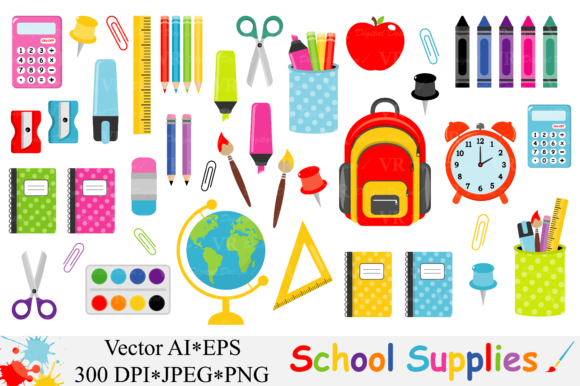 580x386 School Supplies Clipart, Back To School