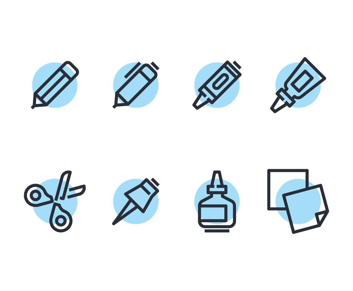 1136x936 School Supplies Line Icon Vectors Vector Art Amp Graphics