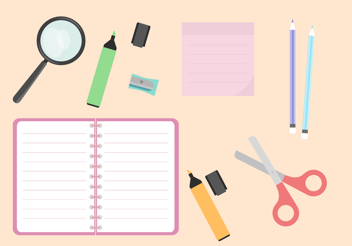 700x490 School Supplies Vector