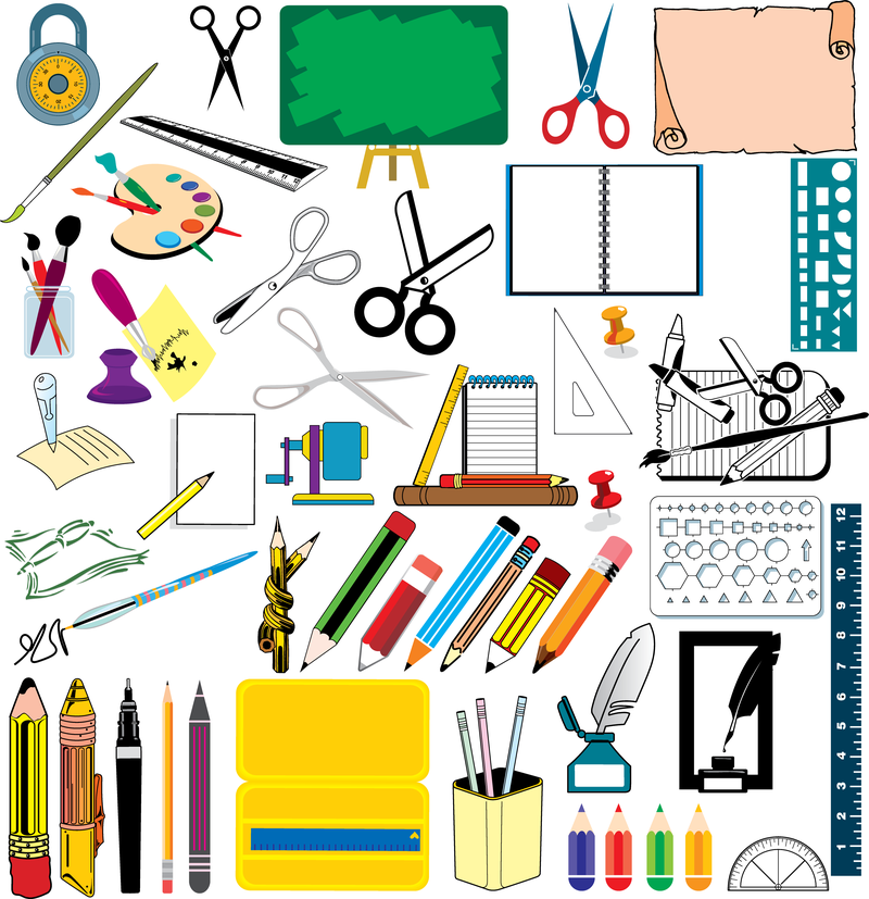 800x827 School Supplies Vector