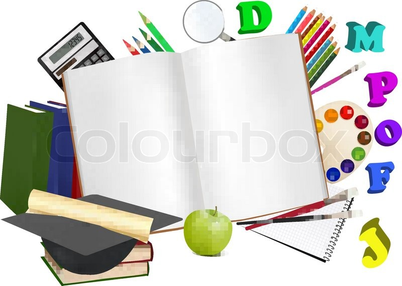 800x570 Back To School. Notepad With School Supplies. Vector. Stock