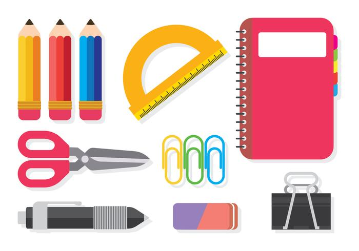 700x490 School Supplies Vector Set