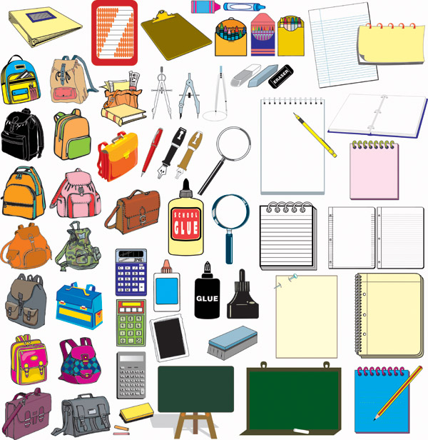 600x616 School Supplies Vector Free Vector 4vector