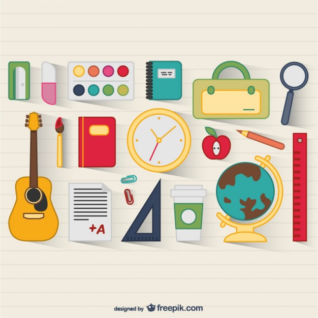 626x626 School Supplies Vector Vector Free Download