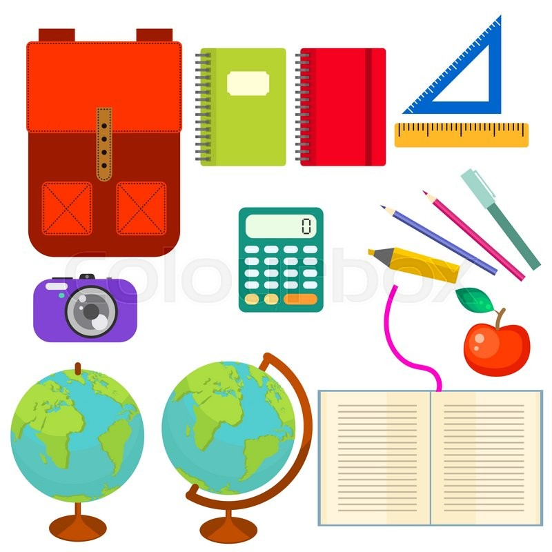 800x800 School Supplies Vector Clip Art Objects. Blackboard Banner