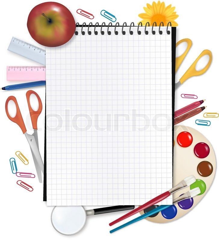 728x800 Back To School. Paper With School Supplies. Vector. Stock Vector
