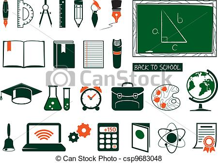 450x336 Set Of School Supplies. School Ang College Icons.