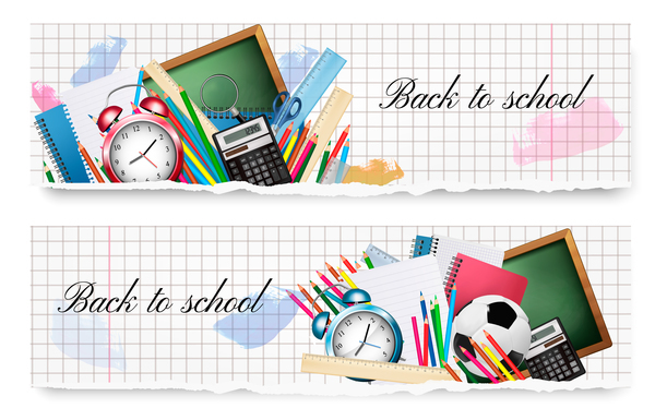 600x385 Back To School Banners With School Supplies Vector Free Download