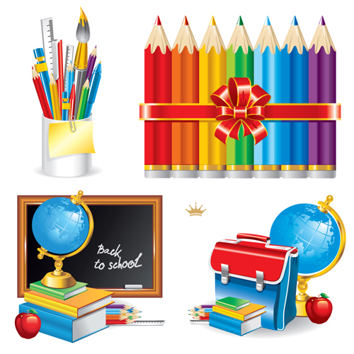 500x500 Different School Supplies Vector Graphic Set 06 Free Download