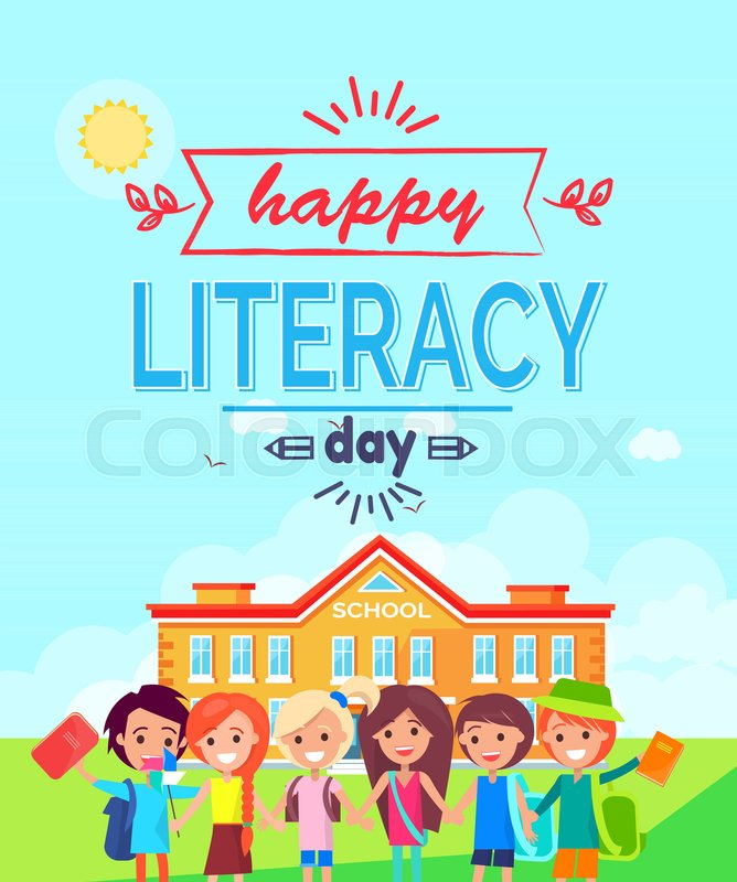 668x800 Happy Literacy Day Promotional Poster Representing Smiling Kids