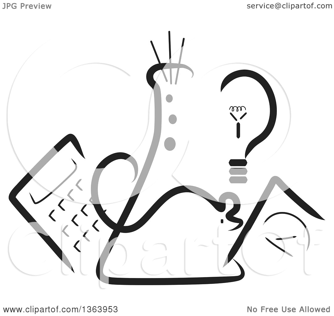 1080x1024 Clipart Of A Black And White Science Beaker Mouse Light Bulb Scale