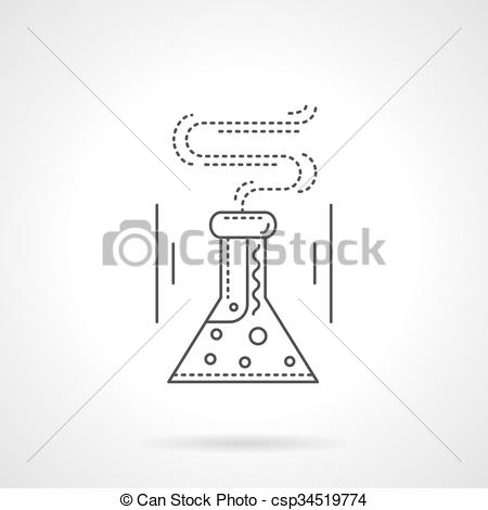 450x470 Laboratory Flask Flat Line Vector Icon. Conical Flask With