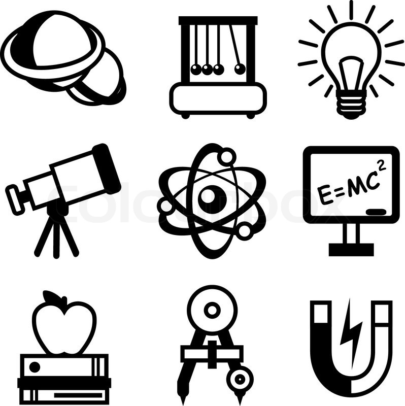 798x800 Physics Science Equipment Teaching And Studying Black And White