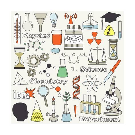 473x473 Science Icon Set Hand Drawn. Doodle Collection Vector. Big Set Of