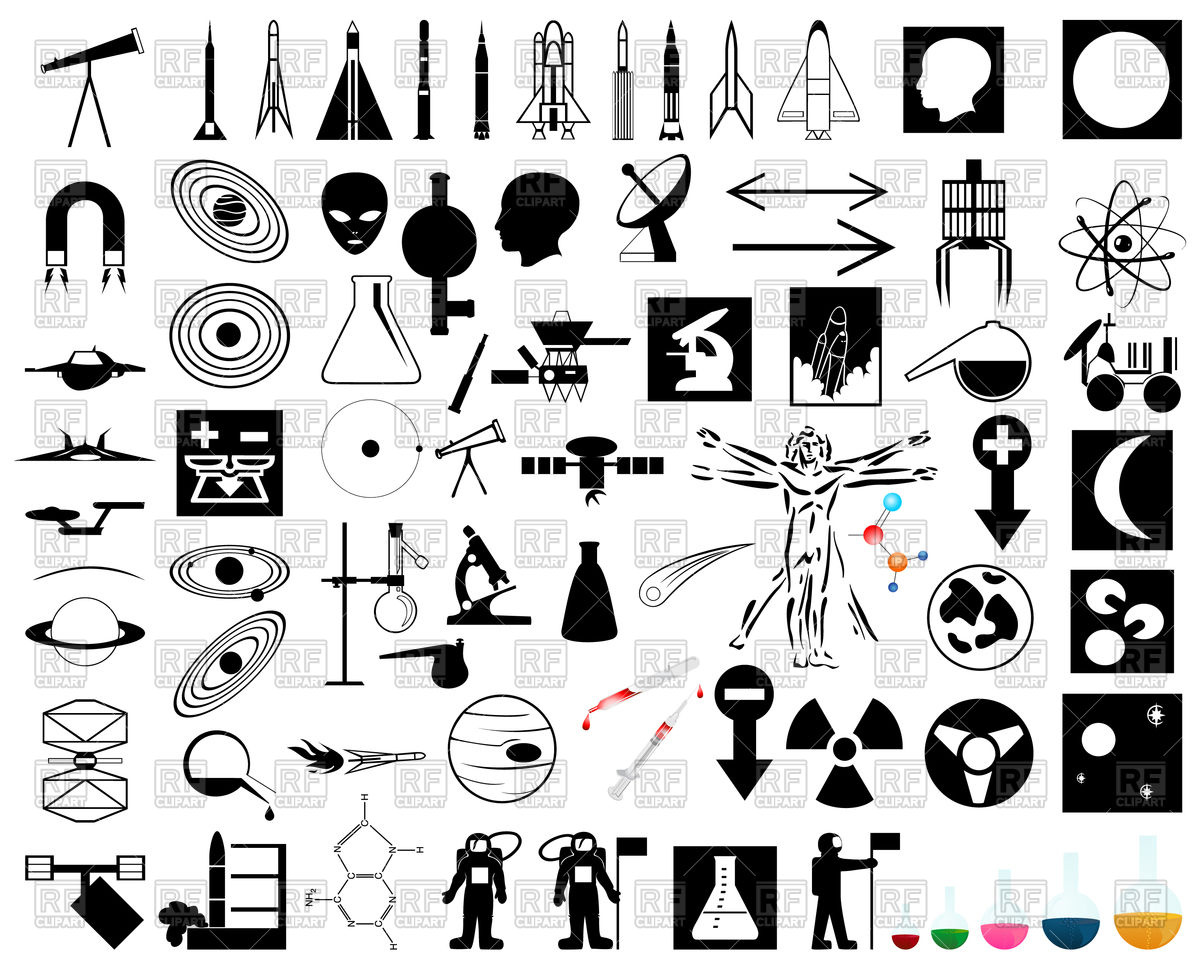 1200x969 Collection Of Science And Space Theme Icons Vector Image Vector