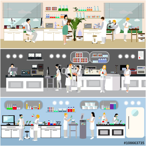 500x500 Scientist Working In Laboratory Vector Illustration. Science Lab