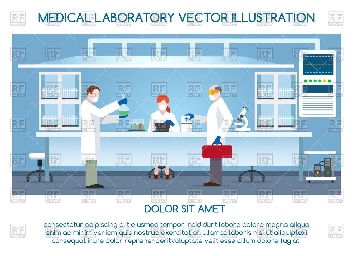 1200x869 Chemical Research Laboratory With Scientists, Lab Vector Image
