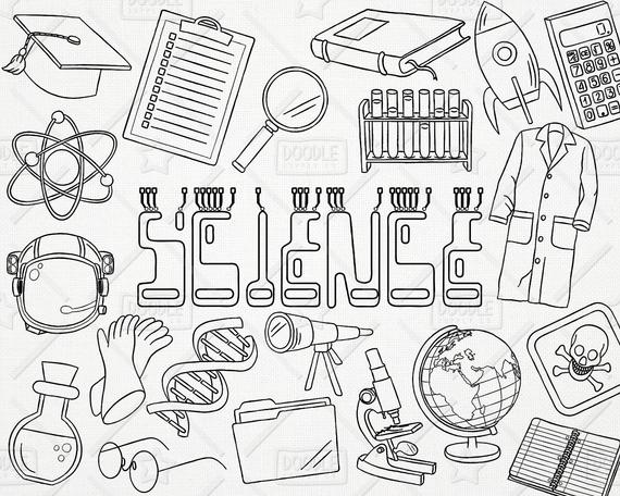 570x456 Doodle Science Vector Pack Science Doodles Mad Scientist Etsy