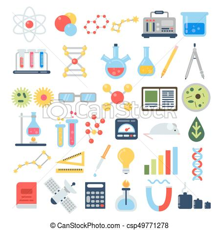 450x470 Scientific Equipment For Chemical Testing. Science Vector Icon Set