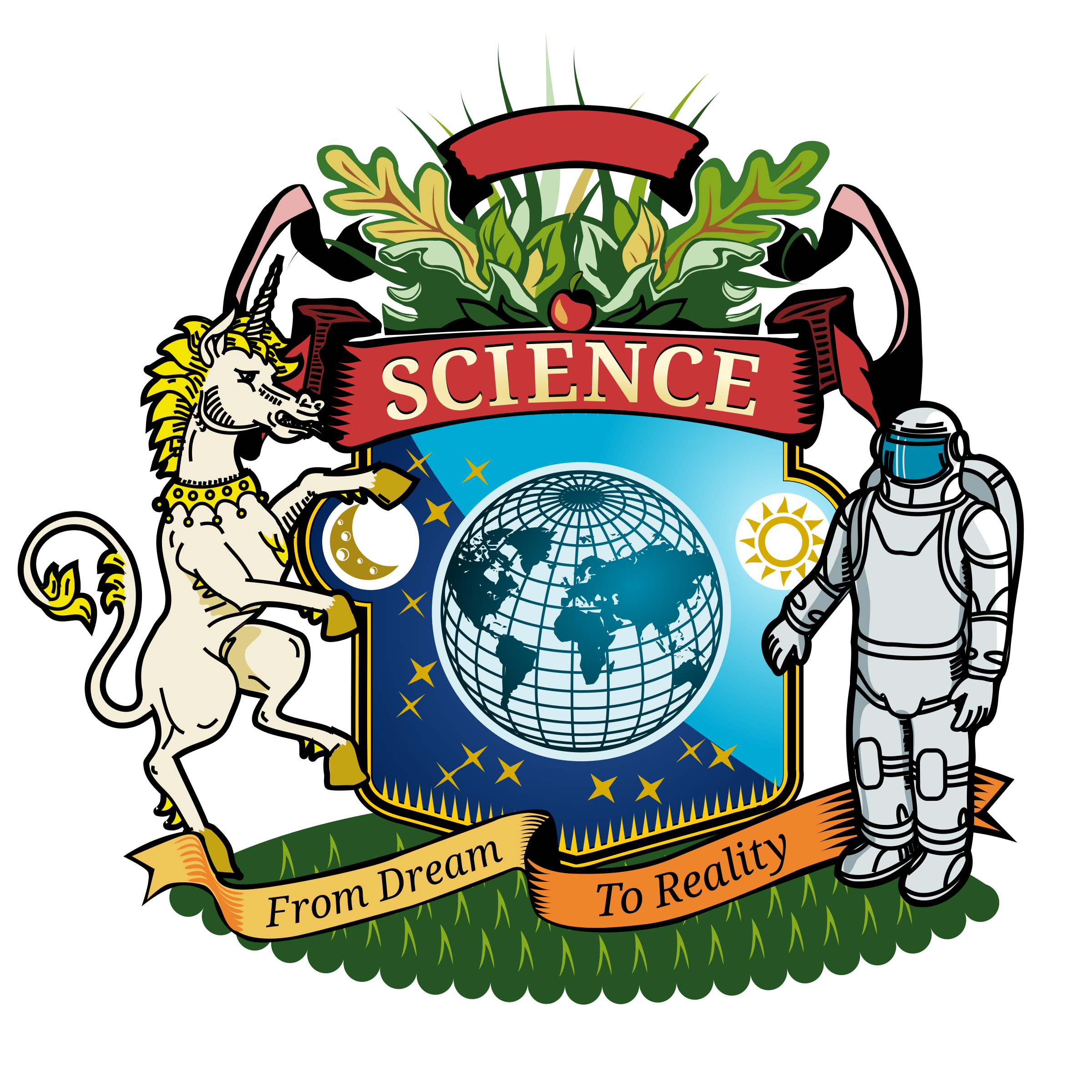 2400x2400 Coat Of Arms Of Science Vector Clipart Image