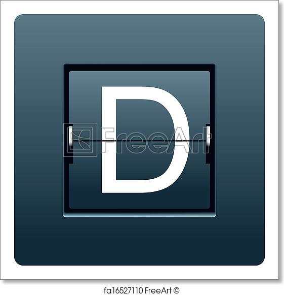 561x581 Free Art Print Of Letter D From Mechanical Scoreboard. Vector