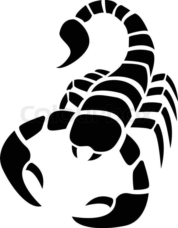 625x800 Scorpion Icon In Simple Tattoo Style,vector Design Stock Vector