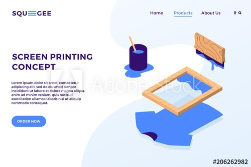 500x334 Screen Printing Isometric Vector Elements Illustration Landing