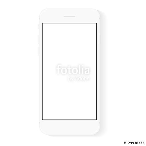 500x500 White Flat Phone White Screen, Vector Drawing Modern Smart Phone