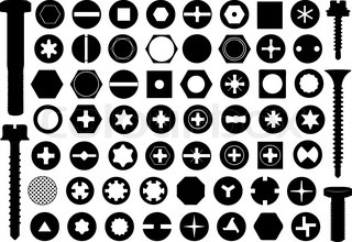 320x220 Vector Dark Grey Screw Heads Top View Silhouette Set Stock