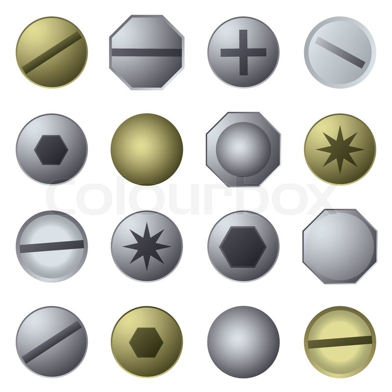 800x800 Bolts And Screw Heads In Silver Metal And Gold Stock Vector