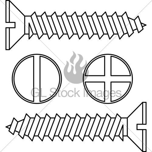 500x500 Stainless Steel Screw. Vector Illustration. Gl Stock Images