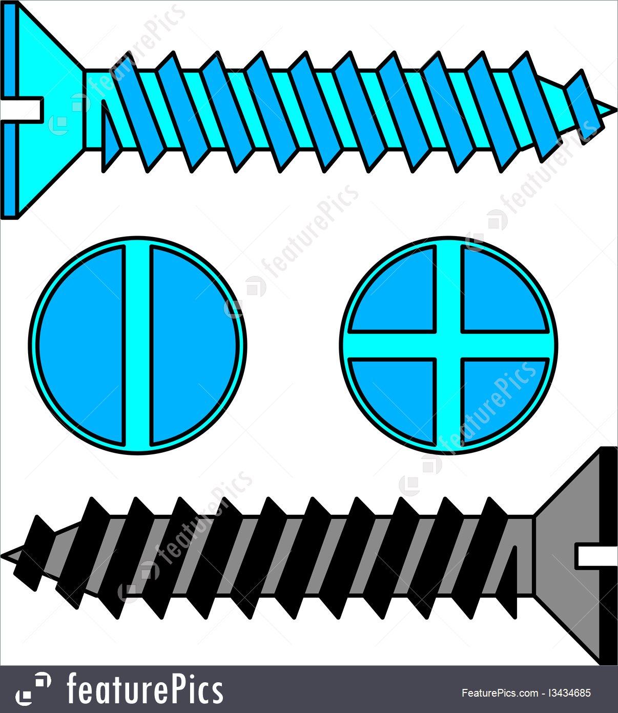 1206x1392 Stainless Steel Screw. Vector