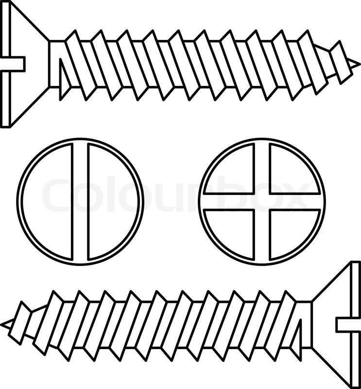 743x800 Stainless Steel Screw Vector Illustration Stock Vector Colourbox