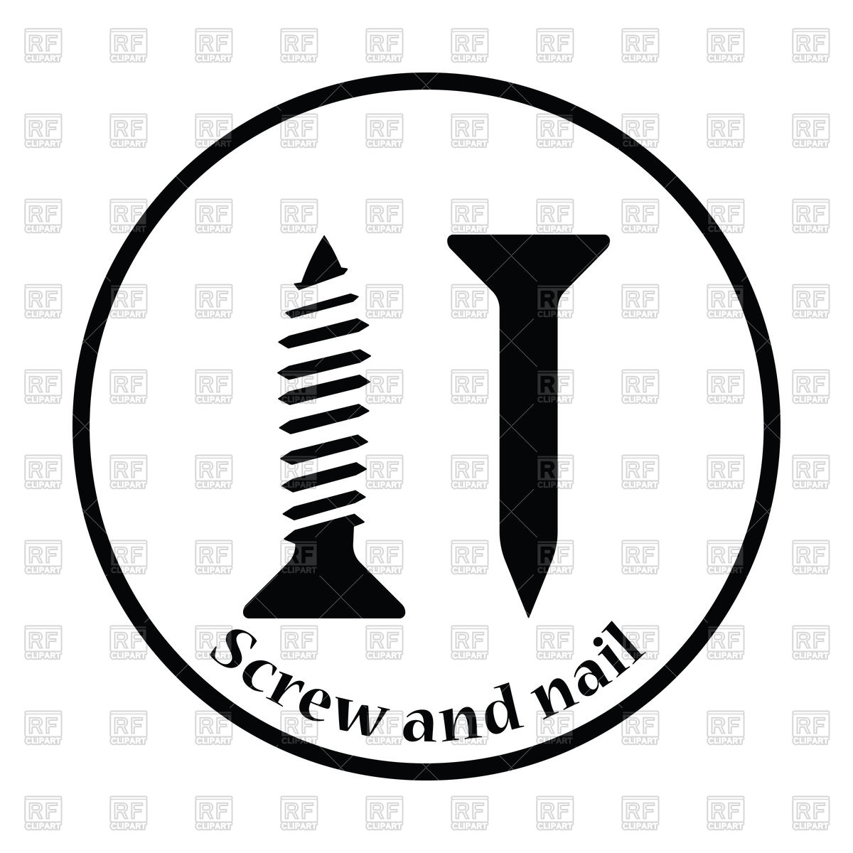 1200x1200 Icon Of Screw And Nail Vector Image Vector Artwork Of Icons And