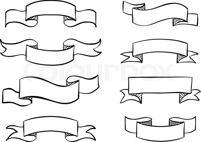 800x565 Hand Drawn Banner Scribble Vector Vintage Scroll Design Stock