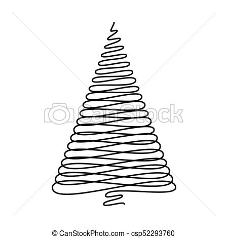 450x470 Christmas Tree Scribble Vector Isolated On White Background.