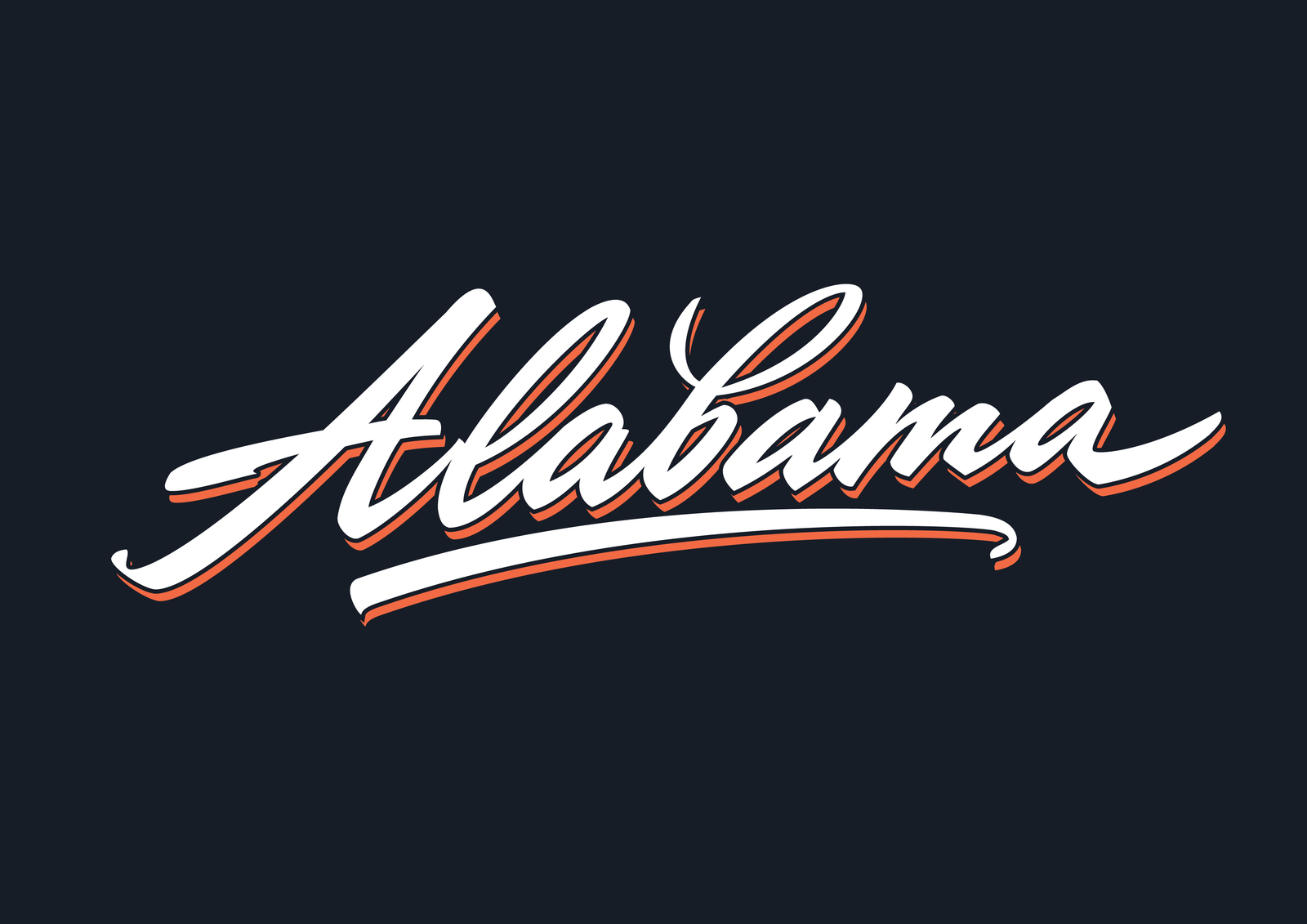 1600x1131 Alabama Brush Script Vector Lettering In Lettering On Yellow