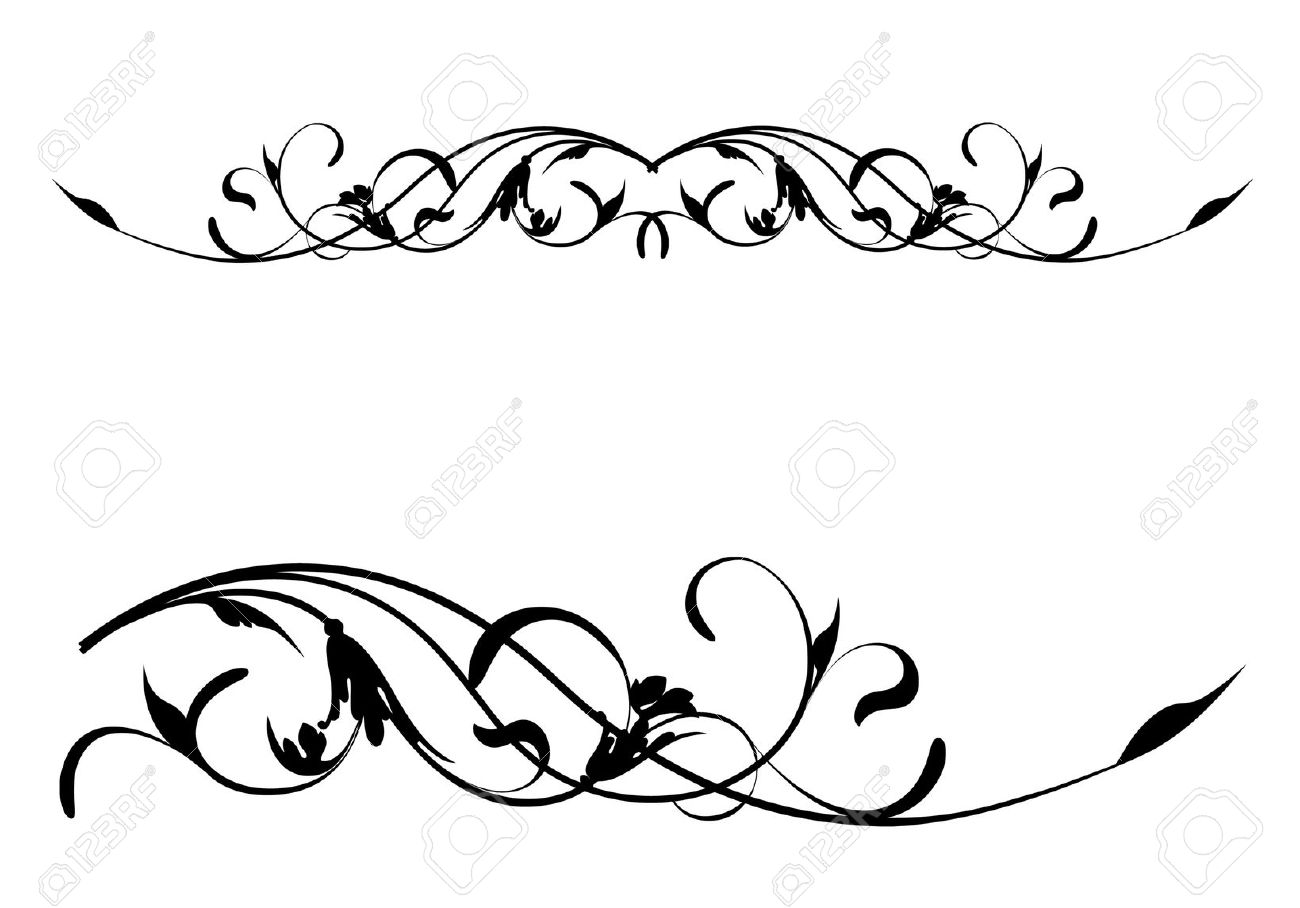 1300x908 Floral Scroll Pattern Clipart