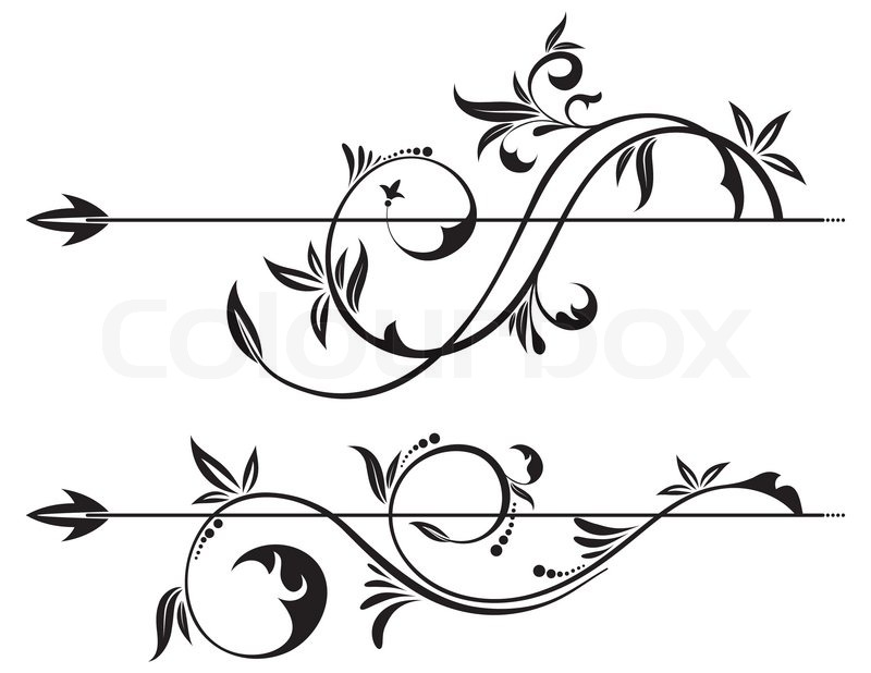 800x618 Floral Scroll Element For Design, Vector Illustration Stock