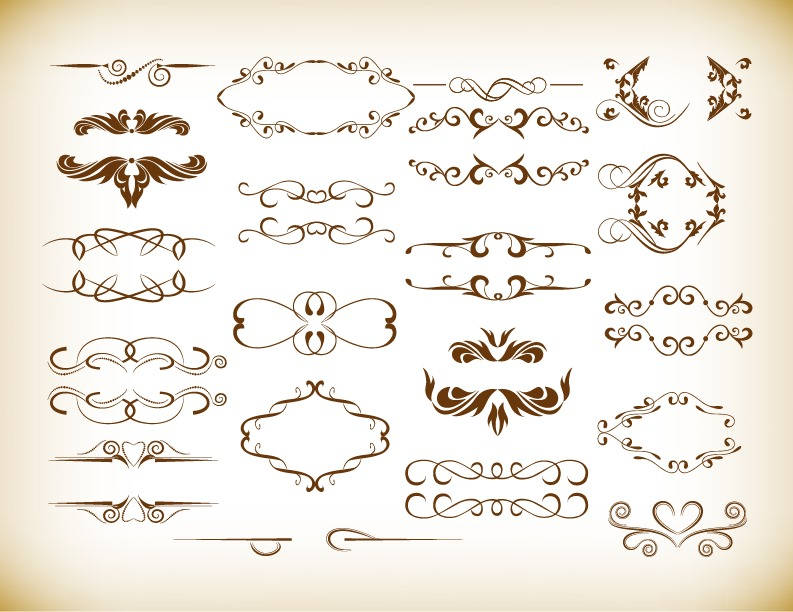 793x612 Ornate Frames And Scroll Elements Vector Set Free Vector